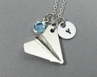 Paper Plane Necklace - Airplane, Origami, Personalized Handstamp Initial Name, Customized Swarovski crystal birthstone