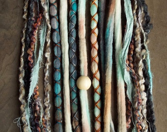 10 Mixed Native & Sand Tie-Dye Wool Synthetic Dreadlock *Clip-in Extensions Boho Dreads Hair Wraps and Beads Custom