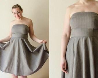 Strapless Dress with Grey Cotton Pinstripe, Summer Bandeau Full Skirt Dress