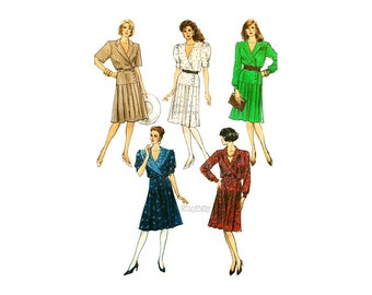 1980s Wrap Dress Pattern Simplicity 8729, Pleated Skirt, Long or Short Sleeves, V Neck Dress, Bust 32 1/2, Uncut Vintage Sewing Pattern
