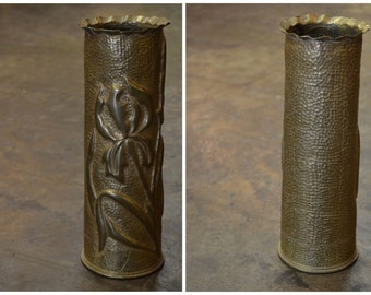 Antique WWI Brass Trench Art Artillery Vase   Antique Vase   Brass Vase   WWI Vase