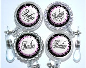 Retractable Id Holder - Personalized Pink and Black Nurse Badge Reel, Rhinestone Bling Id (A169)