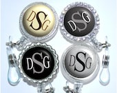 Retractable Id Badge Holder - Monogram Badge Reel in 5 Colors - Bottle Cap Badge Reel (A030)