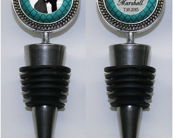 Double-Sided Turquoise and Silver Photo Wine Stopper with Couple's Names and Wedding Date (A262)