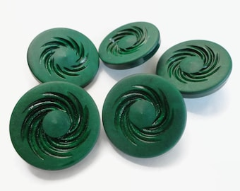 French Vintage Button - Emerald Mid Century Plastic Shank Button Large 1 5/8 inch Coat Button