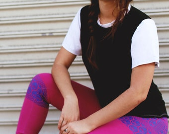 SALE organic yoga clothes // fitness apparel // cute leggings orchid and blue