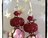 Cherry Blossoms Earrings -- Floral Lampwork Beads, Berry Pink Faceted Acrylic, Swarovski Crystals and Sterling Silver -- Handcrafted