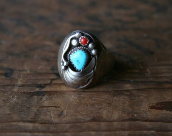 Vintage Ring Turquoise Silver Bear Claw Native American Coral Traditional Tribal Design From Nowvintage on Etsy