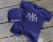 Personalized Baby Short Sleeve Creeper and Hat Set / One Piece Romper / Monogrammed
