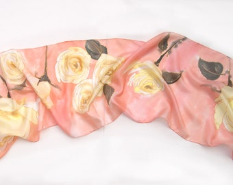 Hand painted silk scarf- Yellow Roses/ Peach scarf handpainted/ Silk scarf/ Roses scarf/ Floral scarves/ Small scarf with floral motif/