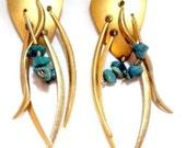 Wild Fun Dangling Earrings with Chunks of Turquoise