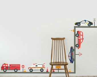 Emergency Vehicles Wall Decals with Straight Gray Road, Removable and Reusable Fabric Stickers