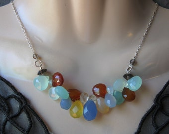 Multi Chalcedony Necklace- Multicolor, Gemstone Cluster, Silver