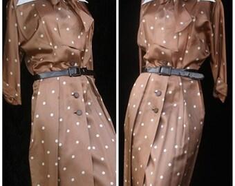 Vintage 30s 1940s 40s R&K Original Silky World War II Polk a dot Dress Bow Large Amazing Condition