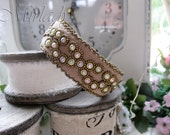Casual Bead Embroidered Bracelet Cuff with tiny Cabochons