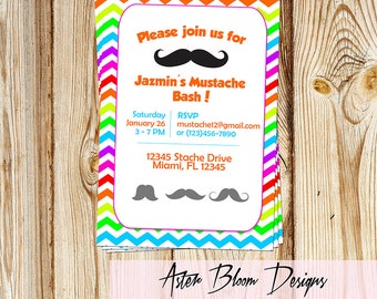 Rainbow Colors Mustache Bash Invitation - Birthday, Babyshower Invite - DIY Printable