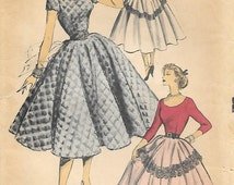 Advance 6089 - 1950s Circle Skirt and Scoop Neck Dress Unprinted Sewing Pattern Size 16 Bust 34