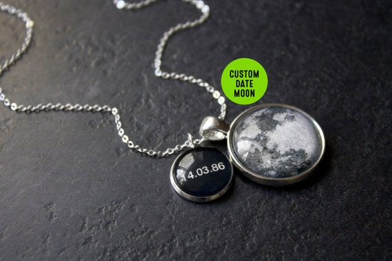 custom date moon phase necklace personalised birth moon