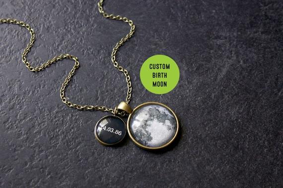 custom bronze birth moon necklace personalised birth moon