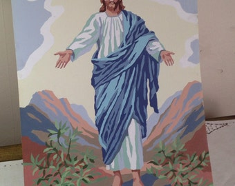 Vintage JESUS Paint By Number Painting Unframed Religious