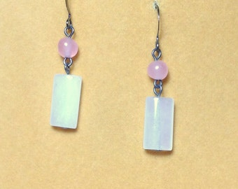 SALE  Snow and Rose Quartz Dangle Drop Earrings / Gemstone Earrings /Rose Quartz Earrings/ Snowy Quartz Earrings /