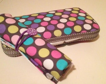Portable Change Pad and Wipes Case | Mommy Clutch | Travel | COMBO: Diddly Dot Orchid
