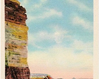 Vintage Arizona Postcard - The High Wall at Grandview, Grand Canyon National Park (Unused)