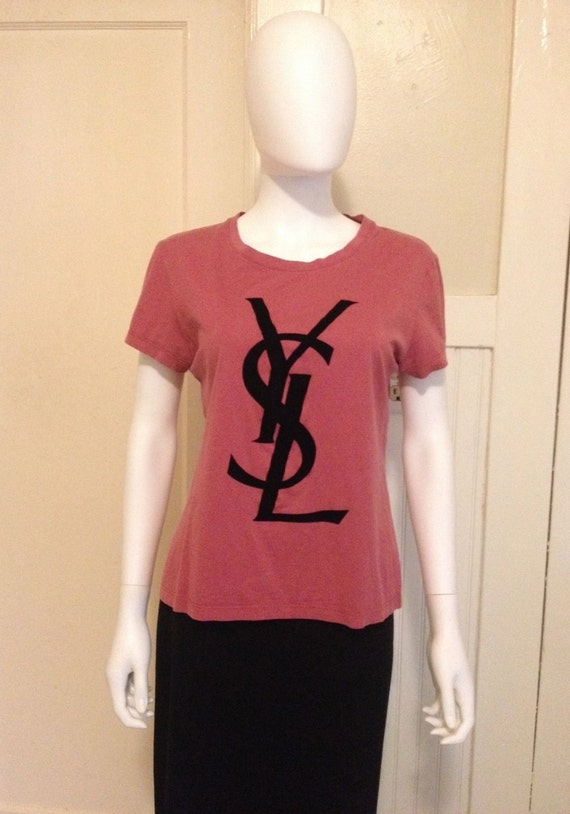 Ysl yves saint laurent rive gauche logo tee t shirt par for Ysl logo tee shirt