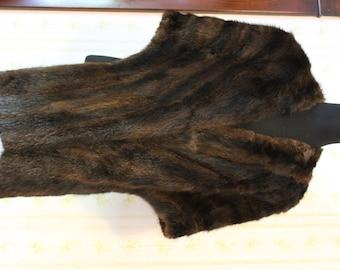 SALE Luxurious Mid Century Dark Brown Mink Shrug, Stole, Mad Men Era