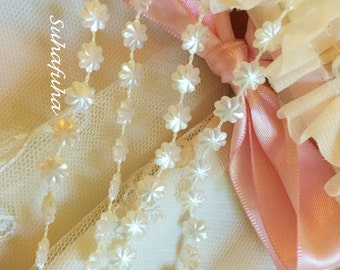 """3 yd IVORY Pearl Flower Bead Acrylic Strand Trim- 2/8"""" inch wide for Embellishing Boxes, Scrapbooking"""