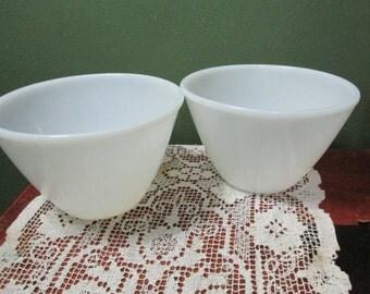 Milk Glass Bowl Splash Proof set of 2 Fire King Anchor Hocking