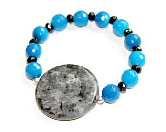Smoky Gray Bracelet, Gemstone Bracelet, Stackable, Blue Agate, Labradorite Larvikite, Black, Blue, High Fashion Celebrity Style by Mei Faith