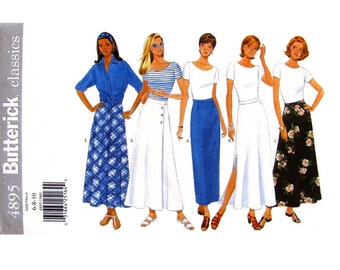 Womens Skirt Pattern Butterick 4895 Easy Flared or Slim Skirt Side or Back Slit Womens Sewing Pattern Size 6 8 10 UNCUT