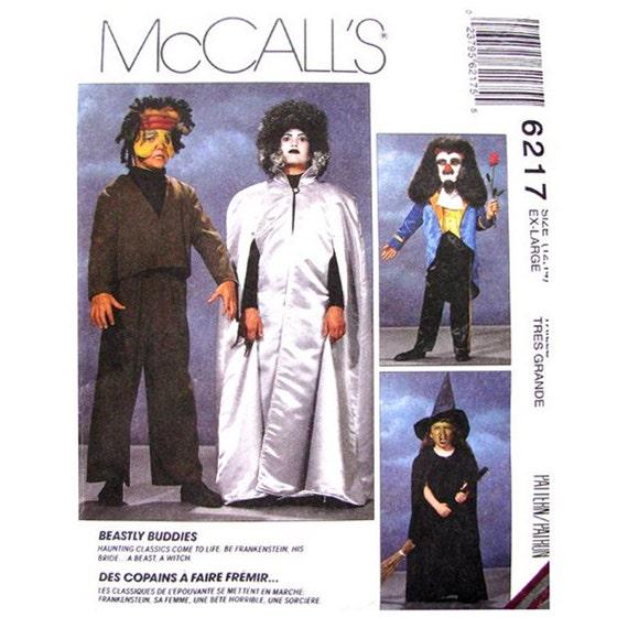 Costume Pattern McCall's 6217 Frankenstein Bride Beast Witch Monster Friends Size 12 14