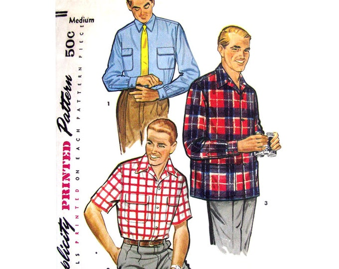 Mens Vintage 50s Shirt Pattern Simplicity 1025 Short or Long Sleeve Sport Shirt Chest 38 40