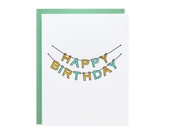 Happy Birthday Banner Letterpress Card