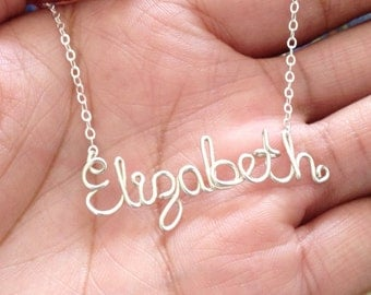 Custom Name Necklace. High Quality Personalized Sterling Silver Name Necklace. AzizaJewelry.