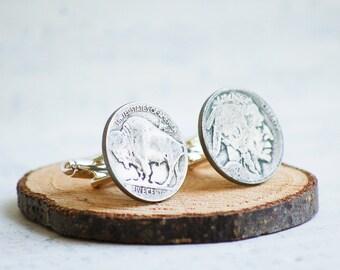 Indian Head Buffalo Nickel Cuff Links Vintage Coin Rustic Wedding Groom Silver Guy Gift Country Western