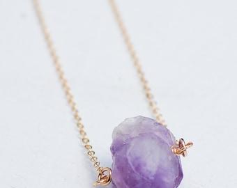 Raw Amethyst PENDANT Gemstone Gold Necklace Crystal Nature Study Fashion Semiprecious Purple Rock