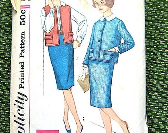 Vintage early 60s  Simplicity 3173  Sewing Pattern  Simple To Make skirt, jacket, blouse vest.  Bust 29 inches