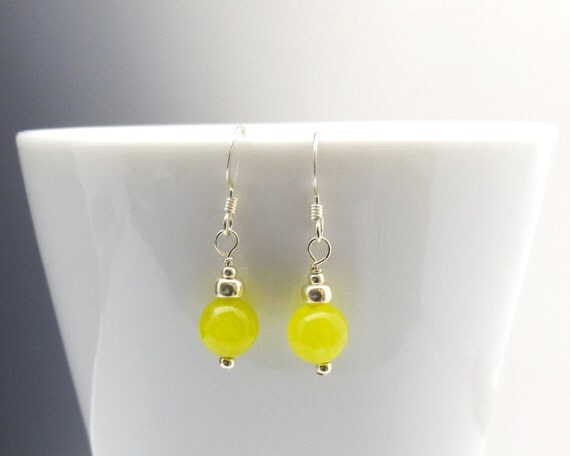 Yellow Malaysia Jade Earrings in Sterling Silver