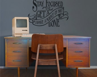 Motivational Quote Wall Decal, Office Vinyl Sticker Art  WARNING Cuss Word  Present, Victorian