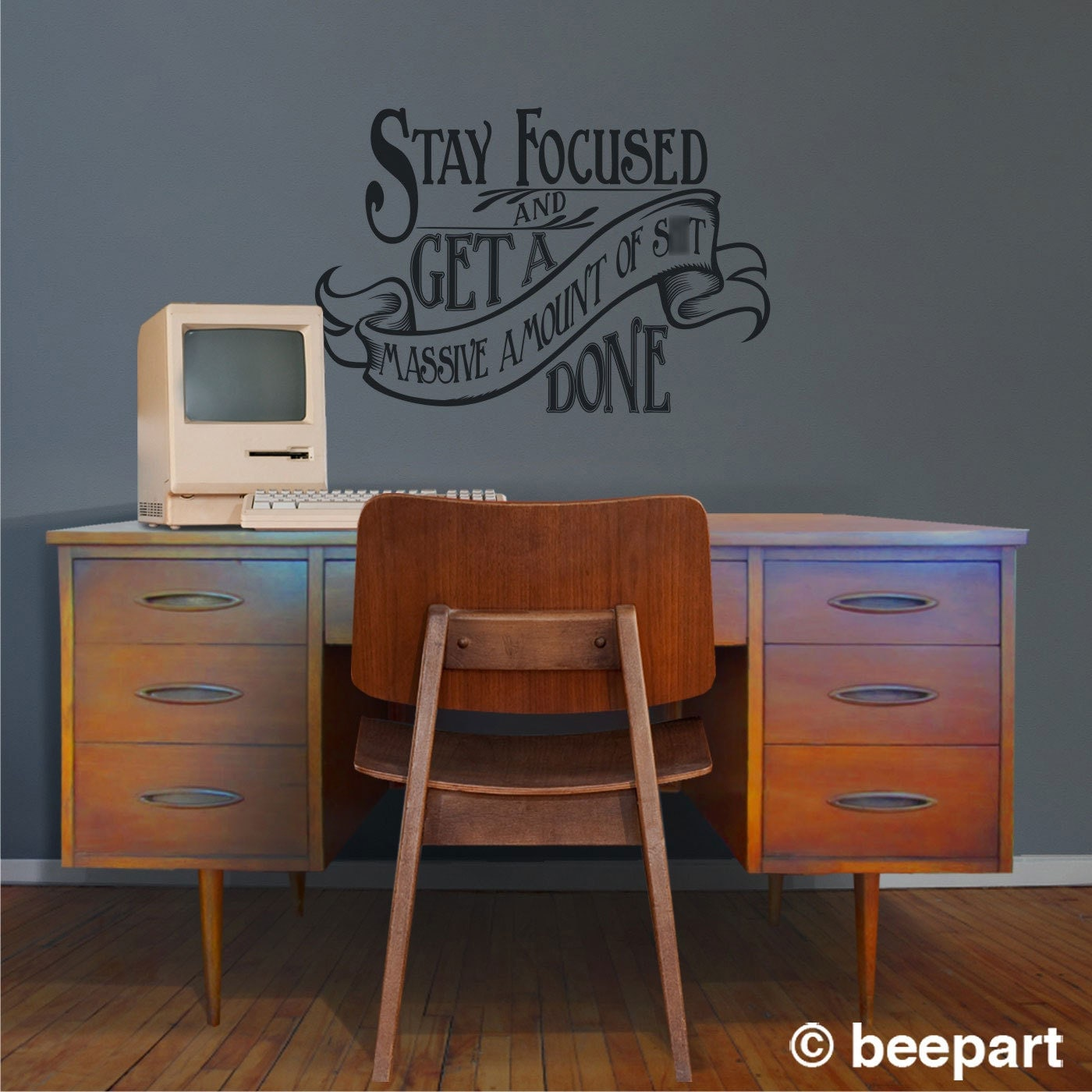 Motivational Quote Wall Decal, Office Vinyl Sticker Art  WARNING Cuss Word  Present, Victorian, Art Nouveau, Get Shit Done, FREE SHIPPING