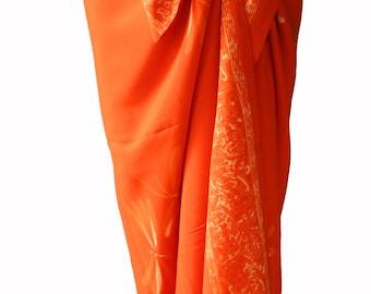 Dragonfly Beach Sarong Pareo Wrap Swimsuit Cover Up - Women's Clothing Beach Skirt Batik Pareo - Long Orange Sarong Skirt Summer Beachwear