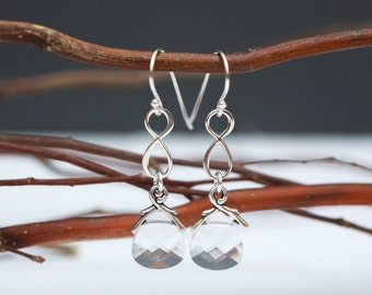 Bridal Jewelry Sterling Silver Infinity Clear Crystal Earrings