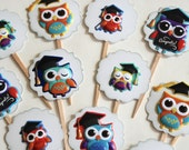 Graduation Owls - Cupcake Toppers