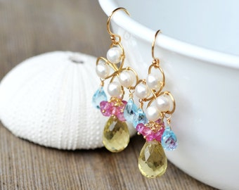 Lemon Quartz Chandelier Gold Earrings - The Golden Times - AAA Freshwater Pearl - Sky Blue Topaz - 14k gold filled - mystic pink topaz