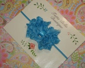 Turquoise Ruffle Bow Headband, Glitter Hair Bow, Turquoise Blue Baby Headband, Baby Hair Bow, Chiffon Headband, Baby Girl Headband