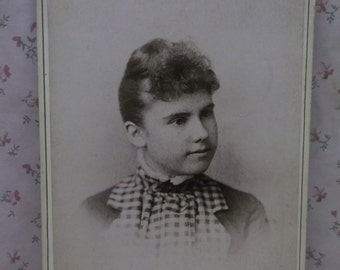 Pretty Young Girl-Curled Hair-Checkered Bow-Antique Cabinet Photo-Denver,CO