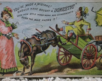 Bucking Mule Buggy-Fancy Ladies-Victorian Trade Card-Domestic Sewing Machine